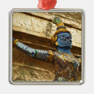 Garuda alone Silver-Colored square ornament