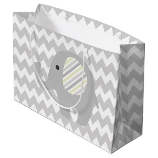 Gary Chevron Rustic Baby Shower Neutral Elephant Large Gift Bag