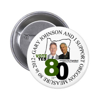 Gary Johnson Oregon Measure 80 2 Inch Round Button