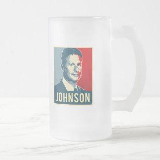 Gary Johnson Propaganda Poster - -  16 Oz Frosted Glass Beer Mug