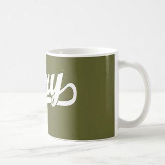 Gary script logo in white coffee mug