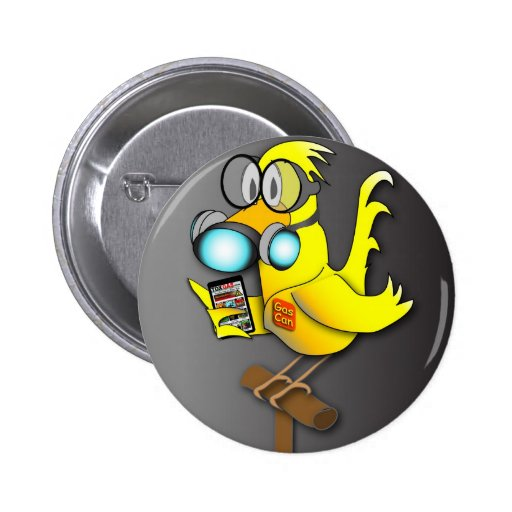 """Gas Can"" Canary Pinback Button"