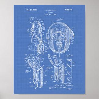 Gas Mask 1944 Patent Art Blueprint Poster