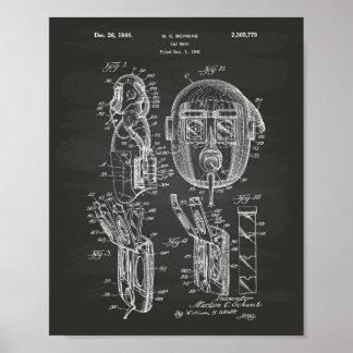 Gas Mask 1944 Patent Art Chalkboard Poster