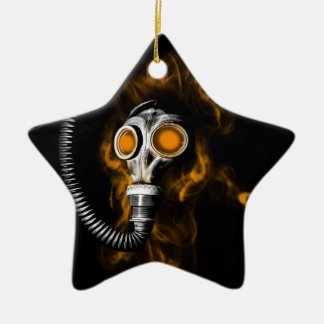 Gas mask ceramic ornament