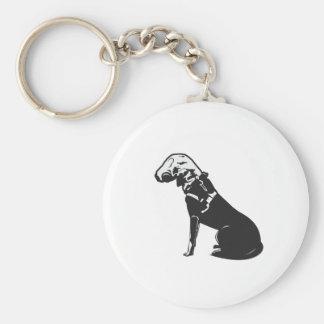 Gas Mask Doggie Basic Round Button Keychain