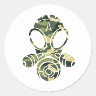gas mask green camo classic round sticker