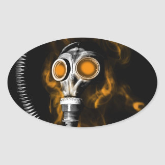 Gas mask oval sticker