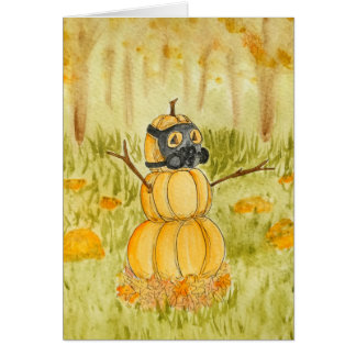 Gas-mask Pumpkin Card