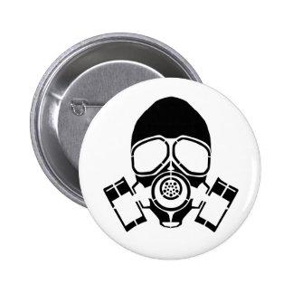 gas mask stencil logo 2 inch round button