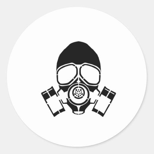 gas mask stencil logo round stickers