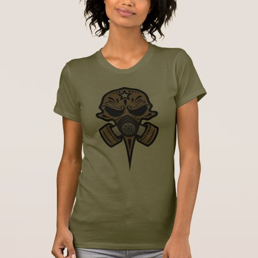 Gas Mask Sugar Skull (brown) T Shirt