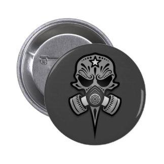 Gas Mask Sugar Skull, Grey 2 Inch Round Button