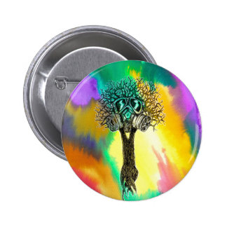 Gas Mask Tree 2 Inch Round Button