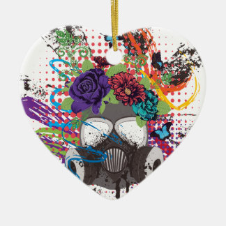 Gas Mask with Roses 5 Ceramic Ornament