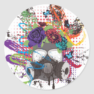 Gas Mask with Roses 5 Classic Round Sticker