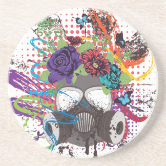 Gas Mask with Roses 5 Coaster
