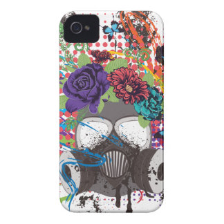 Gas Mask with Roses 5 iPhone 4 Case
