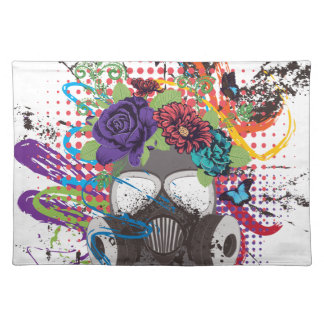 Gas Mask with Roses 5 Placemat