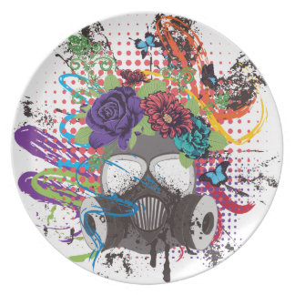 Gas Mask with Roses 5 Plate