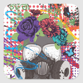 Gas Mask with Roses 5 Square Sticker