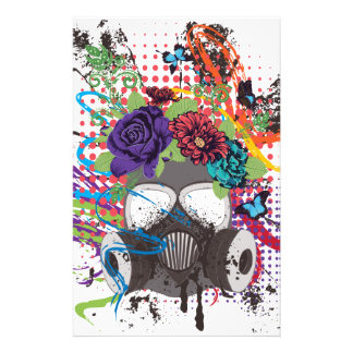 Gas Mask with Roses 5 Stationery