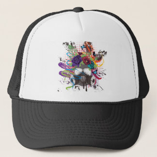 Gas Mask with Roses 5 Trucker Hat