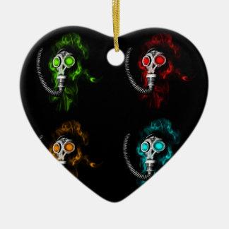 Gas masks ceramic heart ornament