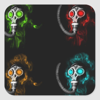 Gas masks square sticker