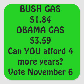 gas obama square sticker
