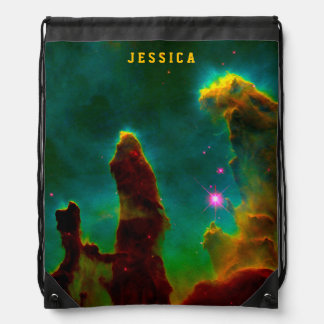 Gas Pillars in the Eagle Nebula (M16) Drawstring Backpack