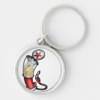 Gas Pump Silver-Colored Round Keychain
