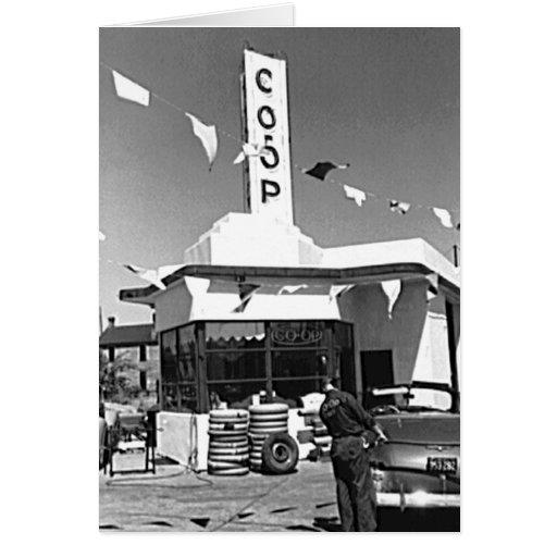 Gas Station and Cars Vintage Minneapolis Minnesota Greeting Card