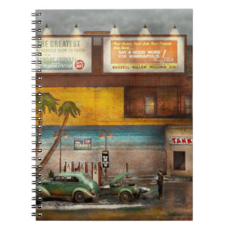 Gas Station - Dreaming of summer 1937 Spiral Notebooks