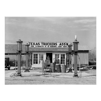 Gas station - Edcouch, Texas: 1939 Poster