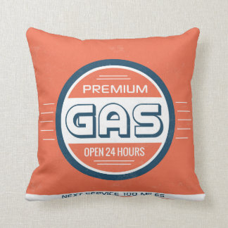 Gas Station Retro Label Designer Accent Pillows