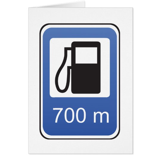 Gas Station Road Sign Greeting Cards