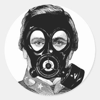 Gasmask Man Classic Round Sticker
