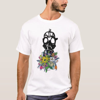 Gasmask smelling the flowers T-Shirt