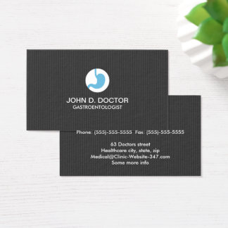 Gastrology or gastrologist dark gray professional business card