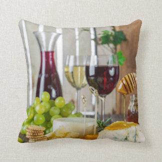 Gastronomy Wine & Cheese Cheeseplate Throw Pillow