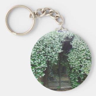 Gate Covered in Jasmine Basic Round Button Keychain