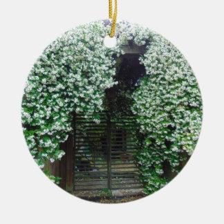 Gate Covered in Jasmine Ceramic Ornament