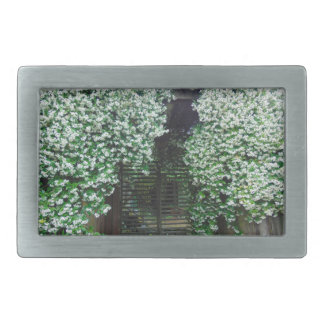 Gate Covered in Jasmine Rectangular Belt Buckles