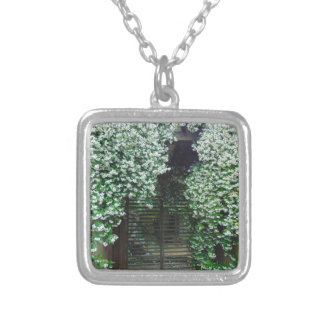 Gate Covered in Jasmine Silver Plated Necklace