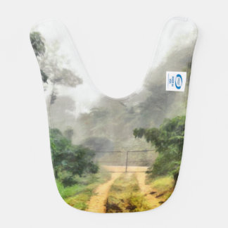 Gate, greenery and mist bib