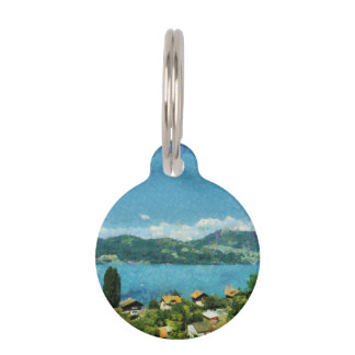 Gate, greenery and mist pet tags