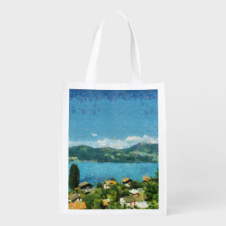 Gate, greenery and mist reusable grocery bag