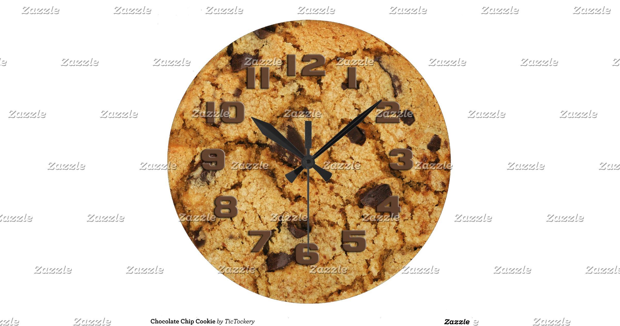 g 226 teau aux p 233 pites de chocolat grande horloge ronde zazzle