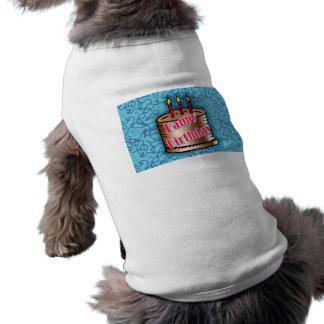 Gâteau de joyeux anniversaire tee-shirt pour animal domestique